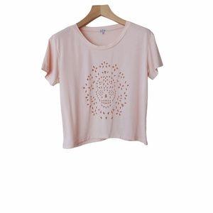 Aritzia Talula Sugar Skull Cut Out Boxy T-Shirt